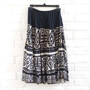 Chico's Boho Hippie Maxi Skirt Black White S/4/0